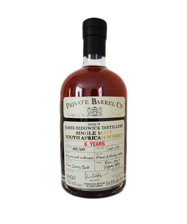 Private Barrel Co James Sedgwick Distillery 6 YO